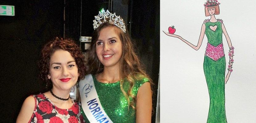 Créatrice en Normandie, Camille Boilet prépare une robe pour le concours Miss France