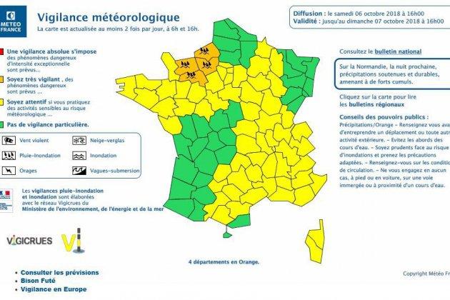 Météo : quatre départements normands sur cinq désormais en vigilance orange