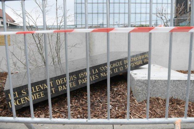 Strasbourg: indignation après la découverte de la stèle de l'ancienne synagogue vandalisée