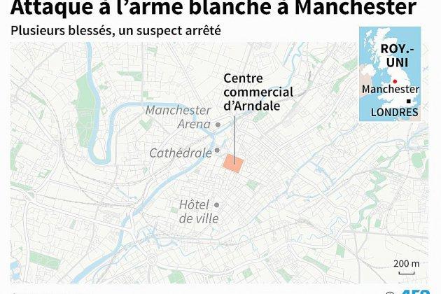 France Monde. GB: cinq blessés dans une attaque au couteau à Manchester, la police antiterroriste saisie