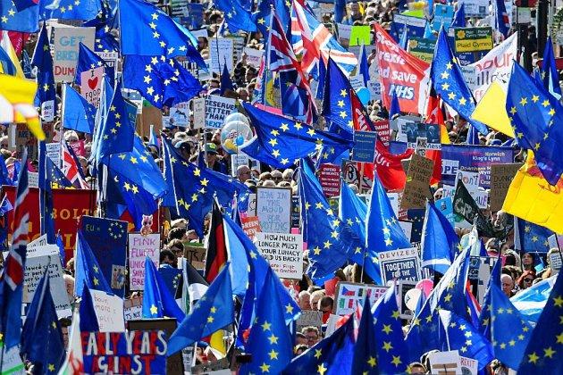 """Des dizaines de milliers de manifestants anti-Brexit à Londres """"pour avoir le dernier mot"""""""