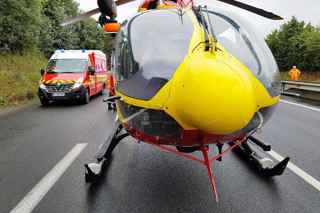 Juvigny-le-Tertre. Collision moto contre poids lourd: un homme très grièvement blessé