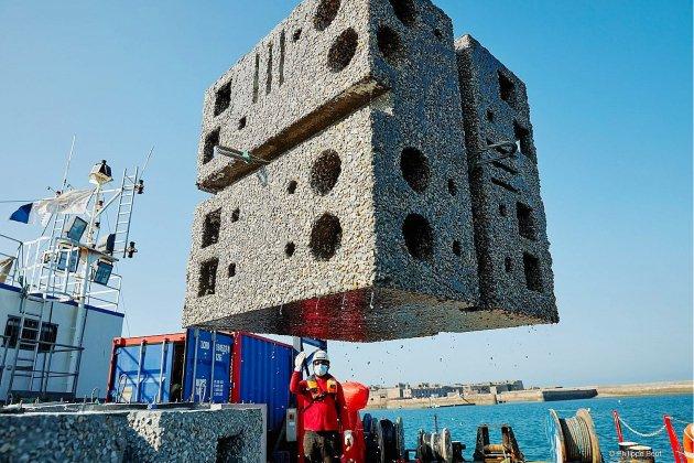 24 blocs de béton immergésdans la rade