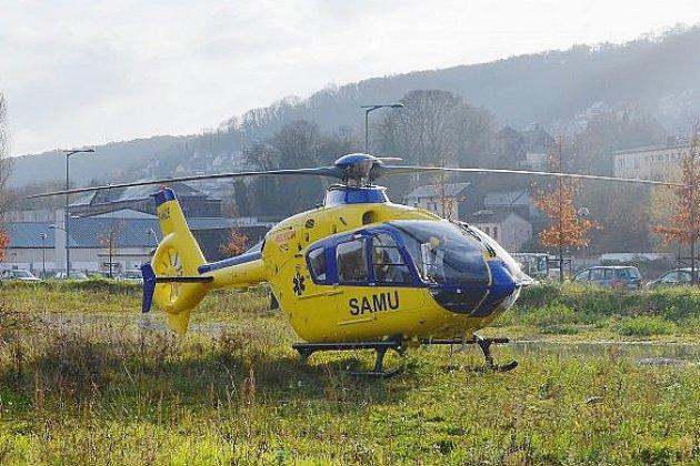 L'hélicoptère Viking 76 du SAMU, mobilisé sur un accident de la route