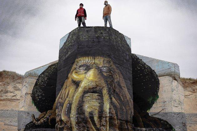Davy Jones peint par BABY.K et Blesea sur un blockhaus