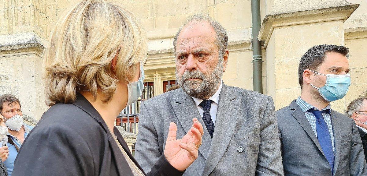"""À Rouen, Éric Dupond-Moretti vante """"les bonnes pratiques"""" de la justice"""