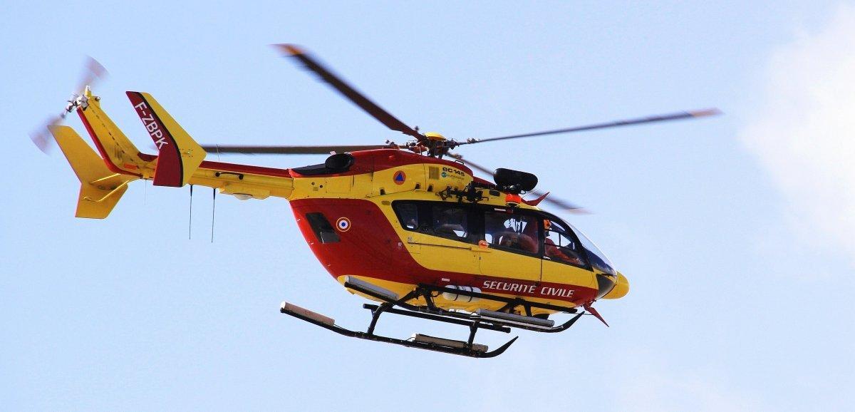 Accident: une femme transportée au CHU par Dragon 50