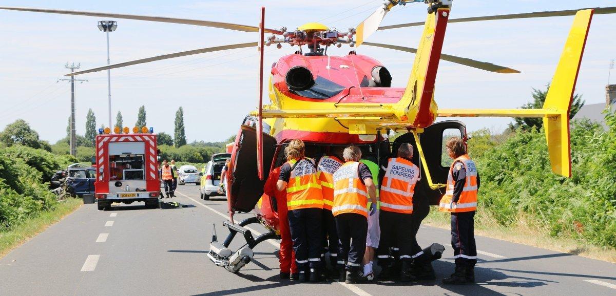 Accident de voiture, le conducteur héliporté au CHU de Caen