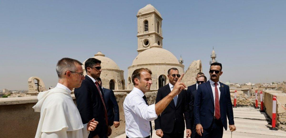 Irak: Macron à Mossoul, ancien bastion de l'EI, où la reconstruction tarde