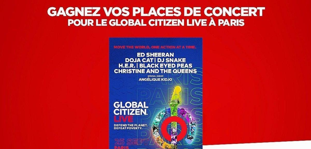Cadeaux. Gagnez vos places de concert pour le Global Citizen Live