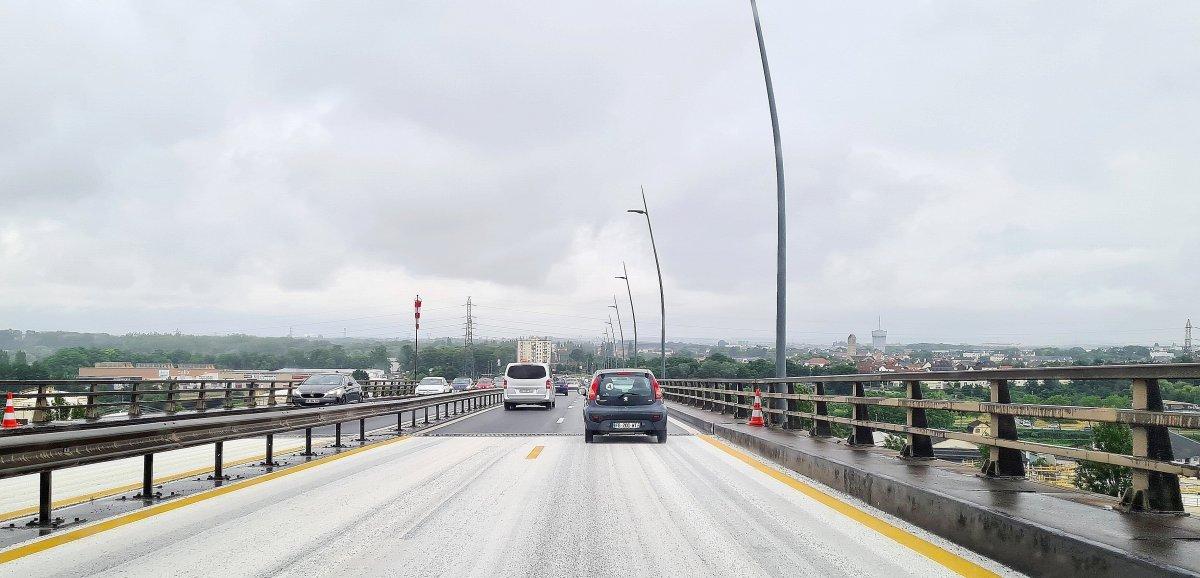 Périphérique de Caen. La circulation réduite à une voie sur le viaduc de Calix