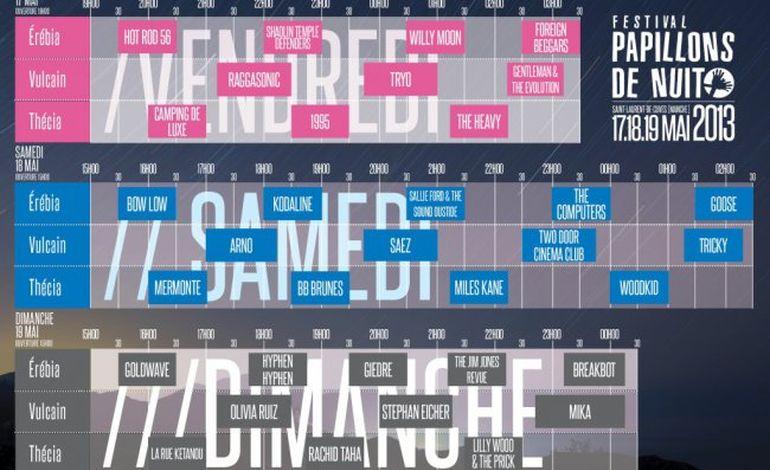 Papillons de Nuit 2013: les horaires des concerts