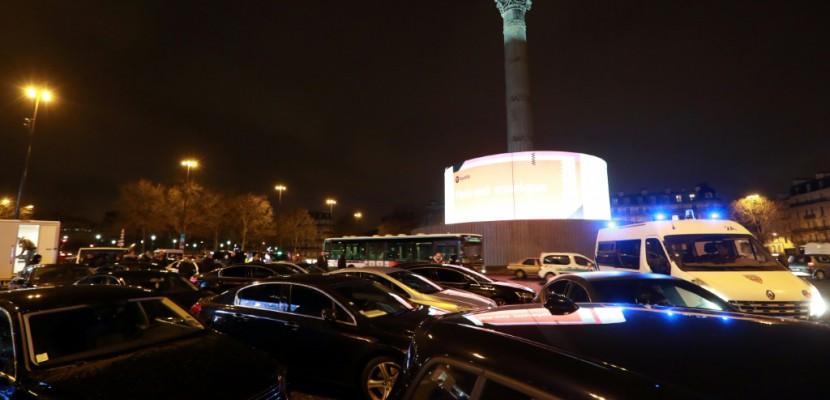 A Bastille, faible mobilisation des chauffeurs VTC