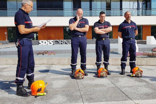 Les pompiers professionnels de l'Orne mettent casque à terre