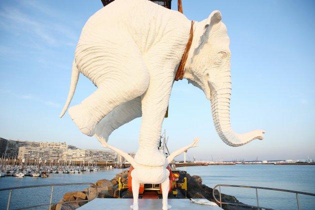 Le Havre: la sculpture de l'éléphant a (enfin) trouvé sa place