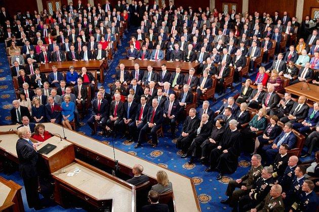 Donald Trump face au Congrès, le mur en toile de fond