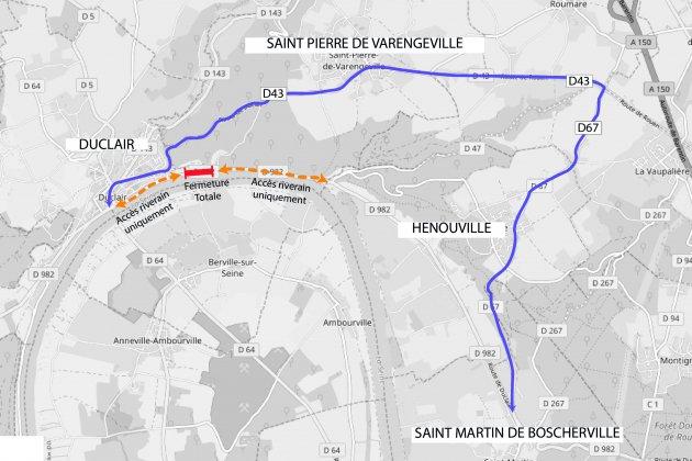 La D982 entre Duclair et Rouen fermée du 18 au 29 mars