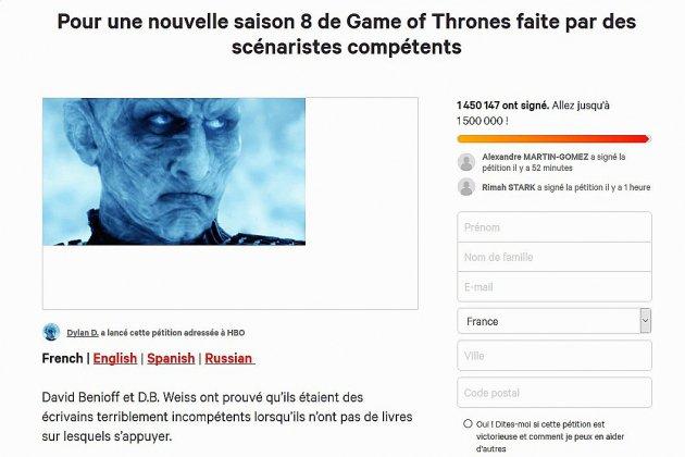 Une pétition pour changer la fin de Game of Thrones