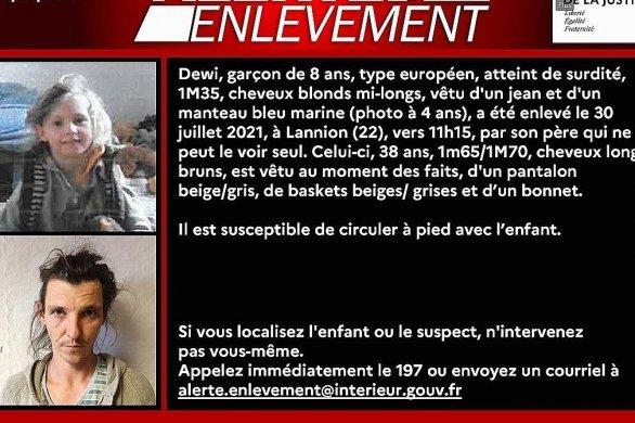 Alerte enlèvement déclenchée pour un enfant de 8 ans en Bretagne