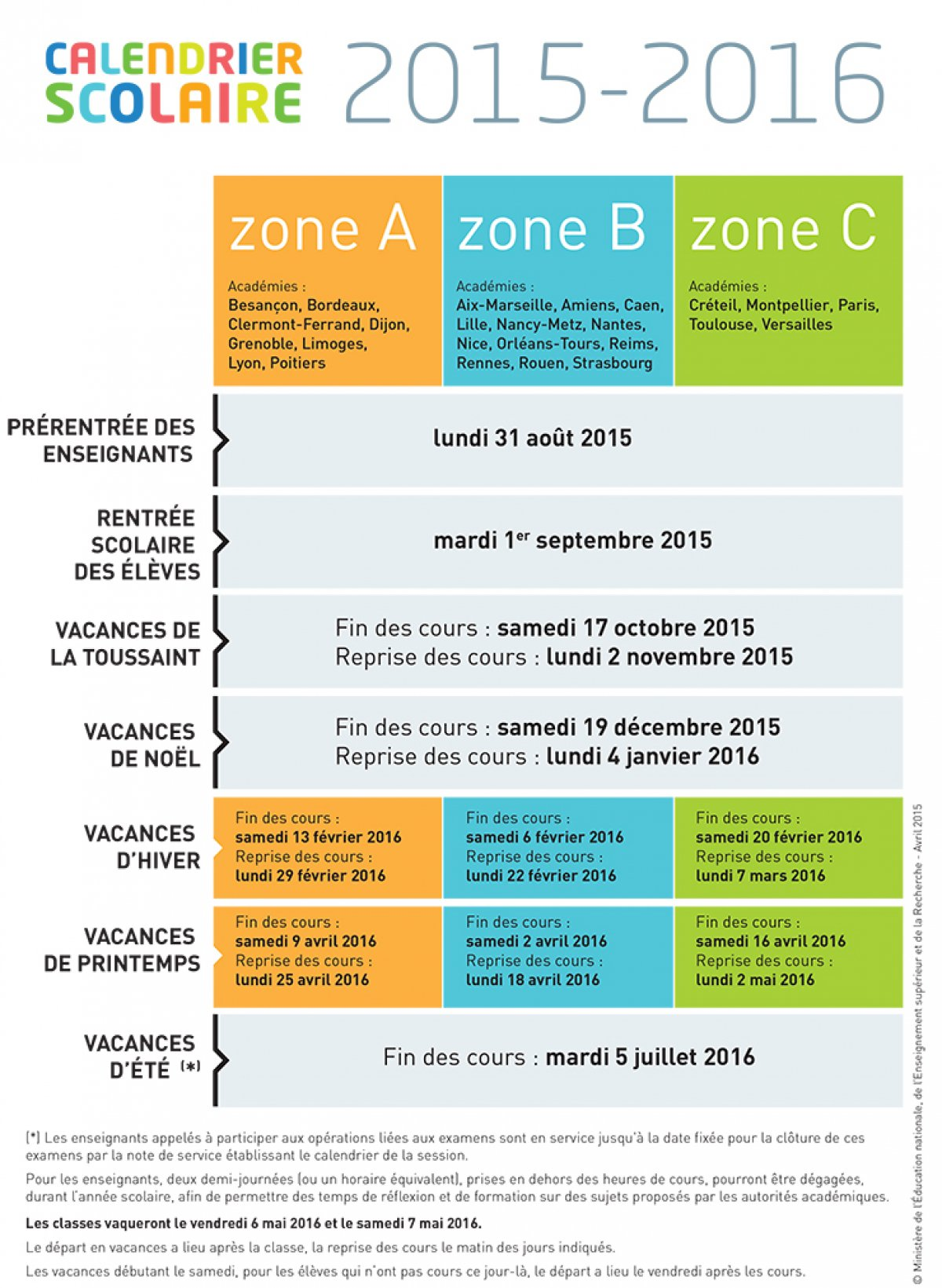 calendrier scolaire monaco