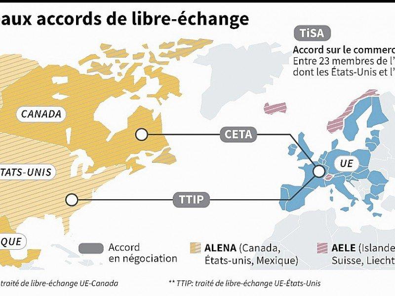 Principaux accords de libre-échange    Jonathan JACOBSEN [AFP]