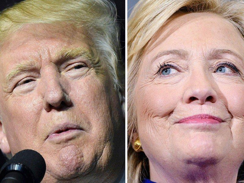 Combinaison de photos montrant le candidat républicain à la Maison blanche, Donald Trump en Virginie le 24 septembre 2016 et la candidate démocrate Hillary Clinton, le 21 septembre en Floride - DESK [AFP/Archives]