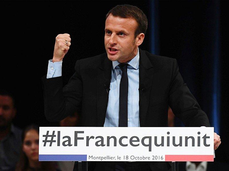 Emmanuel Macron en meeting le 18 octobre 2016 à Montpellier - PASCAL GUYOT [AFP/Archives]
