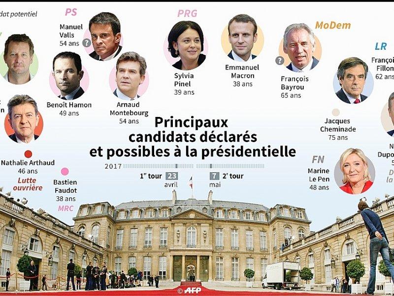 Principaux candidats déclarés et possibles à la présidentielle - Paul DEFOSSEUX, Kun TIAN, Paz PIZARRO, Vincent LEFAI [AFP]