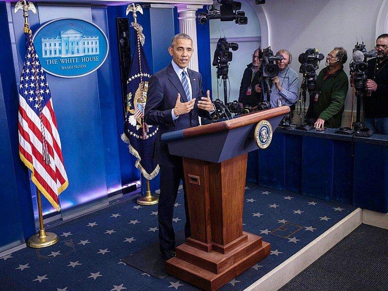 Le président américain Barack Obama devant la pressele 16 décembre 2016 à Washington    ZACH GIBSON [AFP]