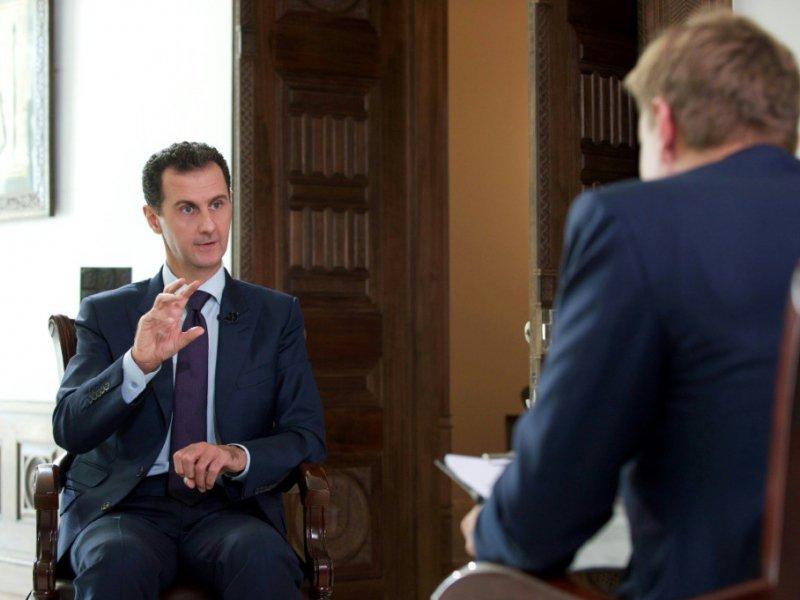 Le président syrien Bachar al-Assad interviewé par un journaliste danaois le 5 octobre 2016 à Damas    - [SANA/AFP/Archives]