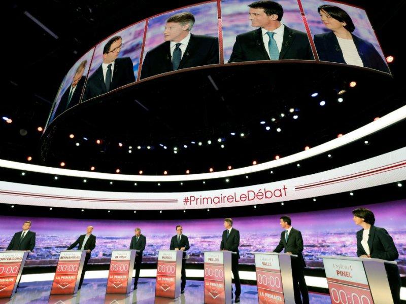 Premier débat télévisé pour les candidats à la primaire organisée par le PS, le 12 janvier 2017 à La Plaine Saint-Denis - PHILIPPE WOJAZER [POOL/AFP/Archives]