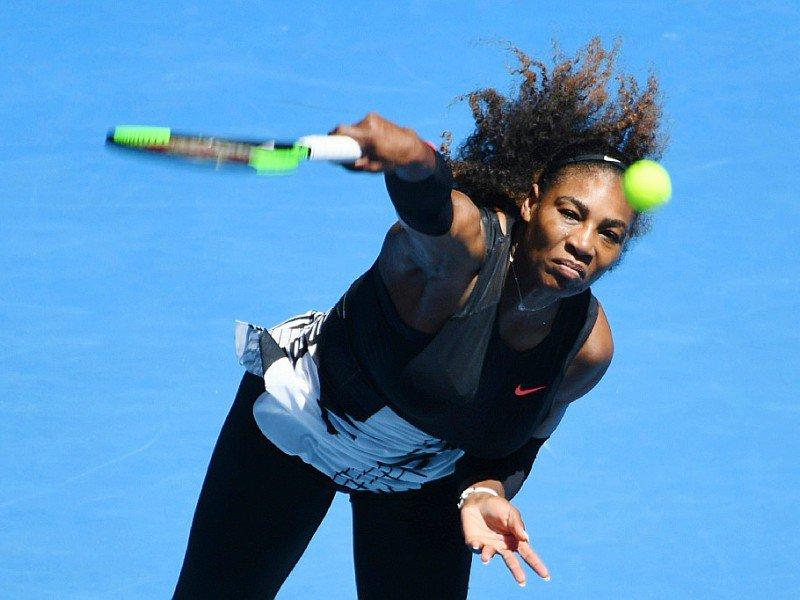 L'Américaine Serena Williams lors du match contre sa compatriote Nicole Gibbs, le 21 janvier 2017 à Melbourne, au 3e tour de l'Open d'Australie    SAEED KHAN [AFP]