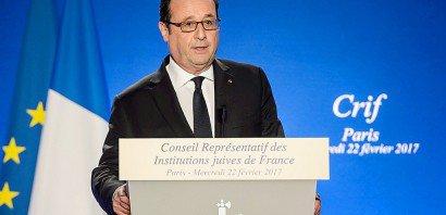 François Hollande lors du dîner du Crif le 22 février 2017 à Paris    Christophe Petit Tesson [POOL/AFP]