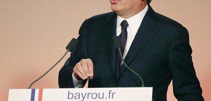 François Bayrou lors de la conférence de presse au cours de laquelle il a annoncé une alliance avec Emmanuel Macron, le 22 février 2017 au siège du MoDem à Paris    Jacques DEMARTHON [AFP]