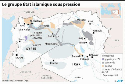 Le groupe Etat islamique sous pression - Sophie RAMIS, Jonathan STOREY [AFP]