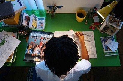 Un enfant américain scolarisé à domicile à Washington, le 27 février 2017     [AFP]