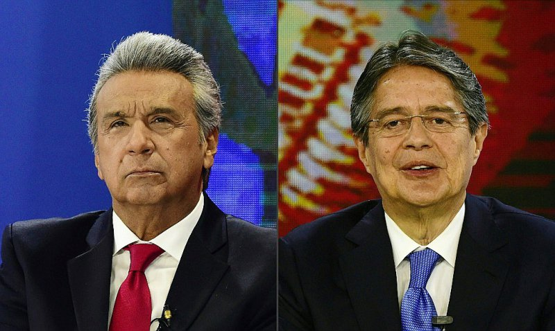 Photomontage fait le 23 février de portrait du vice-président de l'Equateur Lenin Moreno et de l'ex-banquier Guillermo Lasso    RODRIGO BUENDIA [AFP]