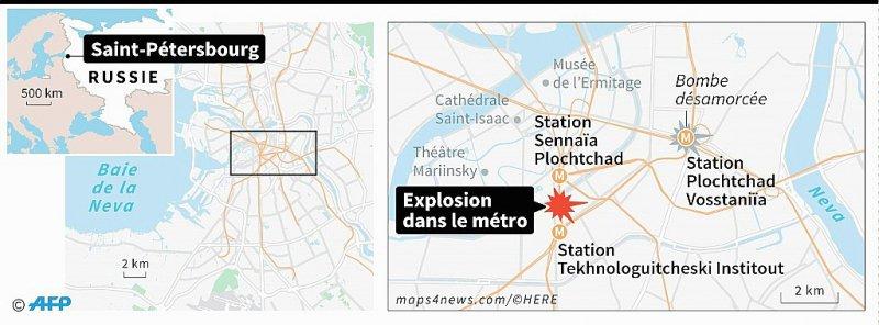 Localisation de Saint-Pétersbourg, où une explosion a fait des victimes dans le métro lundi et où une seconde bombe a été désamorcée - Simon MALFATTO, Sophie RAMIS, Sabrina BLANCHARD [AFP]