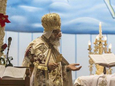 Le pape copte Tawadros II, lors d'une messe à la cathédrale Saint-Marc, le 6 janvier 2017 au Caire - KHALED DESOUKI [AFP/Archives]