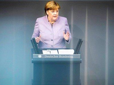 La chancelière allemande Angela Merkel prononce un discours sur l'Europe à Berlin, le 27 avril 2017    Odd ANDERSEN [AFP]