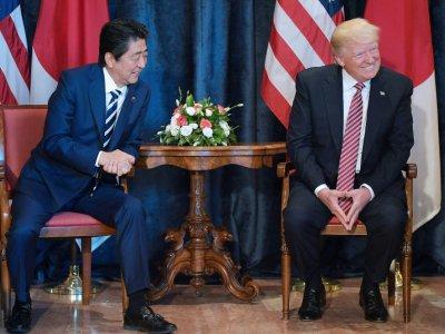 Le président américain Donald Trump et le Premier ministre japonais Shinzo Abe, le 26 mai 2017 à Taormina, en Sicille    MANDEL NGAN [AFP]