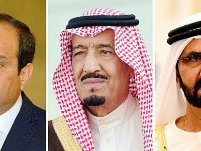 COMBO de photos réalisées le 5 juin 2017, (de G à D) l'Emir du Qatar, Cheikh Tamim ben Hamad al-Thani, le président égyptien Abdel Fattah al-Sisi, le roi Salman d'Arabie saoudite, le Premier ministre de l'UAE Cheikh  Mohammed ben Rachid al-Maktoum et - Mandel NGAN, Fayez Nureldine, Khaled DESOUKI, Lucas JACKSON [AFP/Archives]