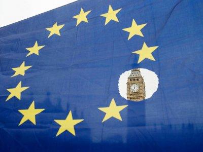 Photo du drapeau européen à Londres le 29 mars 2017    OLI SCARFF [AFP/Archives]