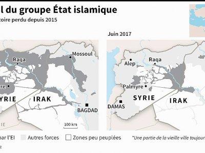 Le recul du groupe Etat islamique - Simon MALFATTO [AFP]