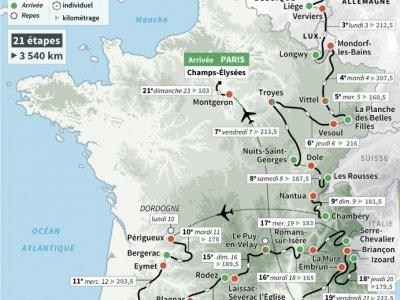 Le parcours officiel du Tour de France cycliste 2017 - Paul DEFOSSEUX, Iris ROYER DE VERICOURT [AFP]