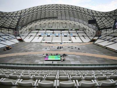 Préparatifs le 21 juillet 2017, au Stade Vélodrome à Marseille pour la 20e étape du Tour de France - BERTRAND LANGLOIS [AFP]