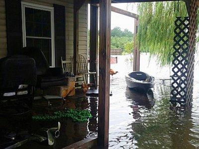 Une maison près de Hamshire, au Texas inondée par Harvey, le 28 août 2017    Jennie MATTHEW [AFP]