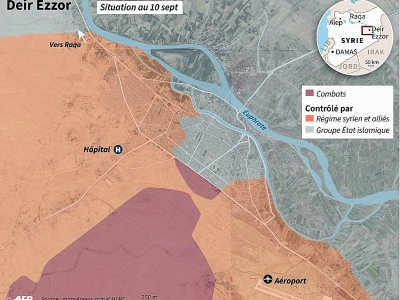 Carte des combats autour de Deir Ezzor - Sabrina BLANCHARD [AFP]