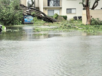Une rue inondée de Miami après le passage de l'ouragan Irma, le 10 septembre 2017    Jose CARUCI [AFP]