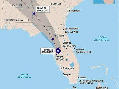 Carte de Cuba et de la Floride localisant la trajectoire d'Irma, lundi matin, avec sa trajectoire prévue jusqu'à mercredi 00h00    Sophie RAMIS [AFP]